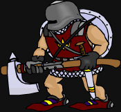 Adventure Fantasy - a warrior ready for adventure, with his battleaxe, sword and shield.