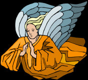 Flying Angel - with hands in prayer, dressed in golden robes, with pale blue wings.