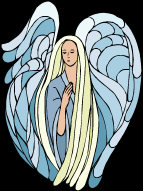 Female Angel - with wings held high, dressed in pale blue robes, with long blonde hair.