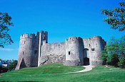 Chepstow Castle (Wales) - started in 1067, it features cylindrical towers and thick stone walls.