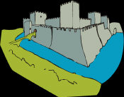 Basic Castle Features - showing towers, walls, moat and drawbridge.