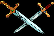 Crossed Swords - when holy/blessed, a useful defence against a vampire.