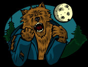 Dark Fantasy - a brown haired werewolf growling, whist tearing at the remnants of his clothing.