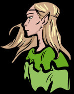 Elf - with her long blonde hair blowing softly in the wind.
