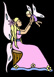 Flower Fairy - dressed in pink, sitting on a tree stump, holding her baby fairy in her hands.