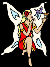 Butterfly Fairy - dressed in red, sitting with her legs crossed, playing with the butterfly's.