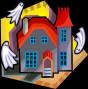 Haunted House - with three ghosts flying around the outside.