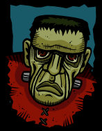 Horror Fantasy - a green faced, brown eyed Frankenstein, with steel bolts through his neck.