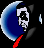 Immortal Physical Vampire - with his head tilted forward, power radiates off him, eternal as the moon.