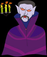 Intentional Psychic Vampire - with his hypnotic orange eyes, purple cape and levitated candles.