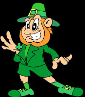 Leprechaun - all in green, with orange hair, golden buckles and a large happy grin.