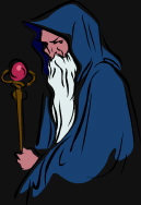Magical Fantasy - an old and powerful wizard, with his long white beard, blue robes and brown staff.