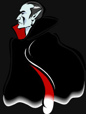 Vlad Dracula - wearing his black and red cape, looking to the left.