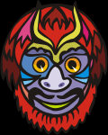 Spirit Mask - with orange eyes, reddish brown feathers, golden horns and a happy smile.