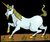 Unicorn - looking to the left, with golden hooves, horn and mane.