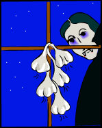 Garlic - hung from a window frame, warding off a female vampire.