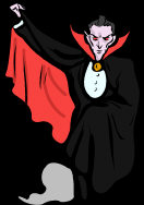 Vampire Goth - dressed in black, lifting his red cape, hypnotic eyes looking at you.