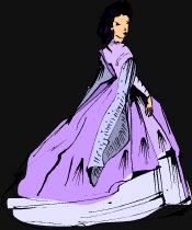 Victorian Goth - dressed in purple, elegant gowns, with her back turned to you.