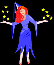 Magic Witch - with arms outstretched and yellow stars emitting from her hands.