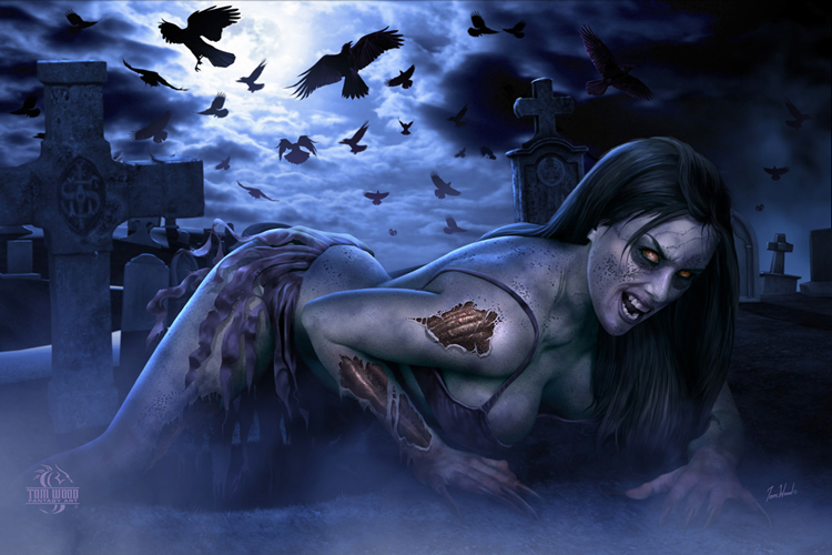 Zombie Girl - Ravens Croak Cemetery Witch